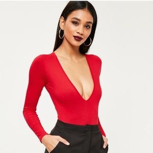Misguided Plunging Long Sleeve Bodysuit Red